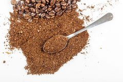 Black coffee grains and Grinded stock images