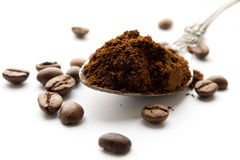 Black coffee in ground and beans Stock Photo