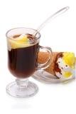 Black coffee with ice cream Stock Photos