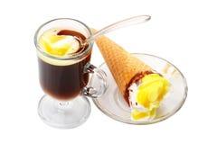 Black coffee with ice cream Stock Photography
