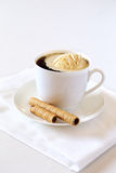 Black coffee with ice cream and chocolate stick Stock Photography