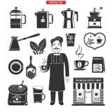 Black Coffee Icons Set Royalty Free Stock Image