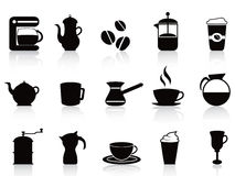 Black coffee icons set Stock Photos
