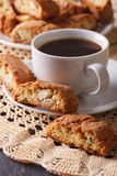 Black coffee and Italian cookies cantuccini macro. vertical Stock Photography