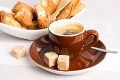 Black coffee with Italian crisp almond cookies Royalty Free Stock Images