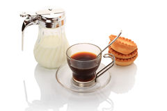 Black coffee and milk Stock Photos