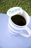 Black coffee with morning note Stock Photo