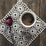 Black coffee on old wooden table Stock Photo