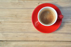 Black coffee in red cup Royalty Free Stock Photos