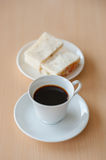 Black Coffee with sandwich tuna. Cup hot coffee on table  with sandwich tuna Stock Image