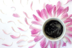 Black coffee with the scent of flowers Stock Photos