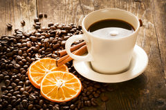 Black coffee served decoratively. Stock Photos