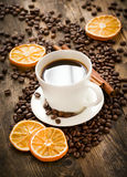 Black coffee served decoratively. Stock Photo