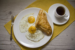 Black coffee and simple breakfast Royalty Free Stock Image