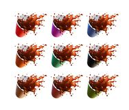 Black Coffee Splash in a Plastic Ripple Cups Isolated on a White Background. 9 color variations. Vector EPS10 royalty free illustration