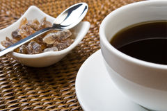 Black coffee and sugar Royalty Free Stock Images