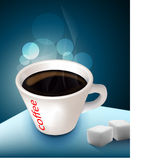 Black coffee and sugar lumps. 3d illustration of black coffee in cup with two sugar lumps, blue background and light effect Stock Photo