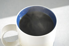Black Coffee Sunlight Streaming Stock Photos