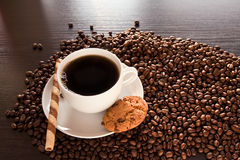 Black coffee on the table Royalty Free Stock Photos
