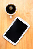 Black coffee and tablet Royalty Free Stock Images