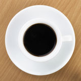 Black Coffee in Top View over Table Royalty Free Stock Photography