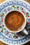 Black coffee in traditional Turkish cup stock photos