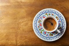 Black coffee in traditional Turkish cup stock images