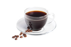 Black coffee in the transparent cup stock photos