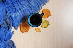 Black coffee in turquoise cup and autumn leaves on wooden desk with scarf royalty free stock photo