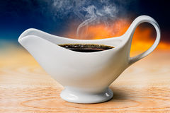 Black coffee in white bowl Stock Images
