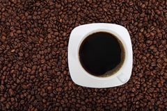 Black Coffee in White Ceramic Cup Royalty Free Stock Images