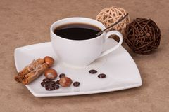 Black Coffee In White Cup.  Stock Image