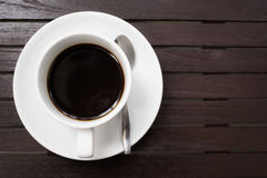 Black coffee in white cup Stock Images
