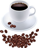 Black coffee in white cup and coffee grains Stock Photography