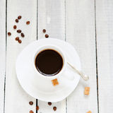 Black coffee in a white cup Royalty Free Stock Photos
