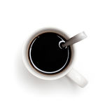 Black coffee in white cup with spoon Stock Photo