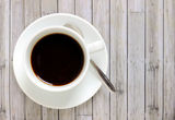 Black coffee in white cup Stock Photos