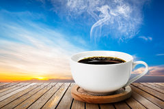 Black coffee in white cup Royalty Free Stock Photography