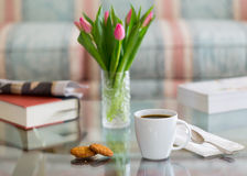 Black coffee in white mug glass topped table Royalty Free Stock Photography