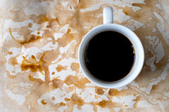Black coffee in the white mug Stock Photos