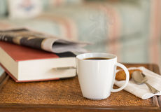 Black coffee in white mug wooden table Royalty Free Stock Photos