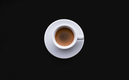 Black Coffee,White tableware. And colour fabric in natural sun light royalty free stock photo