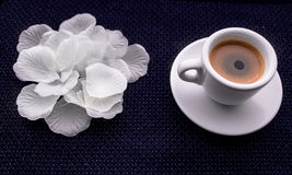 Black Coffee,White tableware. And colour fabric in natural sun light royalty free stock images
