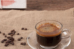 Black coffee on wood Royalty Free Stock Images