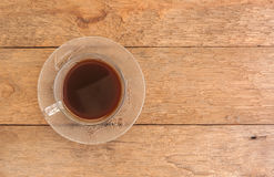 Black coffee on wood Stock Photography