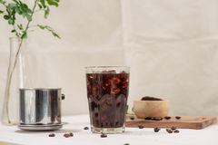 Black coffee. Black coffee on the wooden table Stock Photography