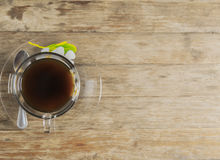Black Coffee on Wooden Table. Black coffee on old wooden table Stock Photography