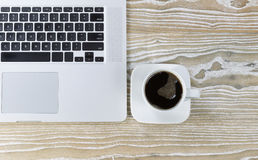 Black Coffee on Working Desktop Royalty Free Stock Photography