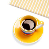 Black coffee in a yellow cup Royalty Free Stock Photos