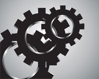 Black cogs (gears) on  grey background Stock Image